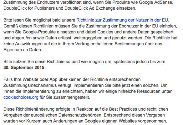 Google EU Richtlinie Cookies